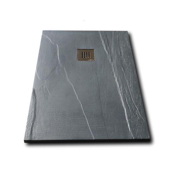 Piatto doccia in pietra solidstone alto 2 8 cm ardesia grafite - Piatto doccia nero ...