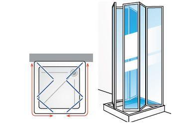 box doccia 3 lati a scomparsa in acrilico e alluminio. Black Bedroom Furniture Sets. Home Design Ideas