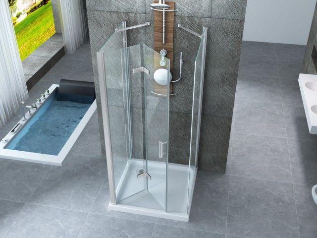 Box doccia in cristallo 8 mm frameless due lati fisso piu for Porta a libro apertura esterna