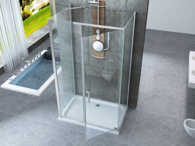 Box doccia in cristallo 8 mm frameless due lati fisso piu 39 apertura battente interno ed esterno - Siliconare box doccia interno o esterno ...