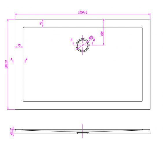 Piatto doccia ultraflat in acrilico alto 5cm rettangolare - Misure minime piatto doccia ...