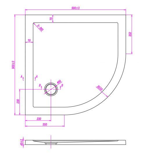 Piatto doccia ultraflat in acrilico alto 4cm semicircolare - Misure piatto doccia piccolo ...