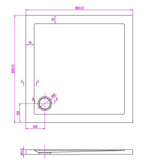 Piatto doccia ultraflat in acrilico alto 5cm quadrato - Misure piatto doccia piccolo ...