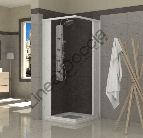 Box doccia i pvc 2 lati apertura centrale a soffietto doppia anta misura 80 x 100 x h185 - Box doccia salvaspazio ...