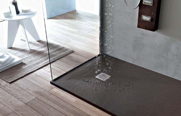 Piatto doccia in pietra solidstone alto 2 8 cm grafite - Piatto doccia nero ...