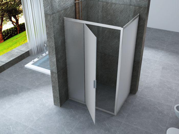 Dimensione Piatto Doccia 60x90.Box Doccia Cristallo 6 Mm 2 Lati Fisso Piu Porta Semi Battente Opaco Misura 60 X 90 X H190 Cm