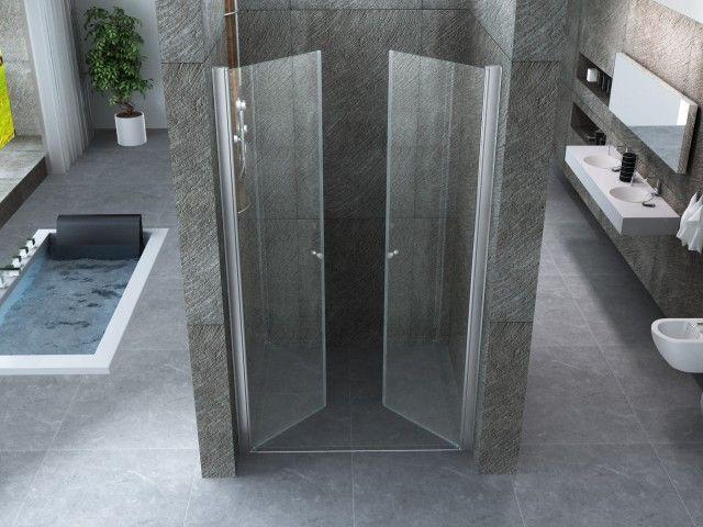 Cabine Doccia Cristallo : Porta doccia frameless con apertura saloon in cristallo 6 mm
