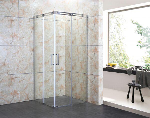 Cabina box doccia rettangolare reversibile in vetro trasparente cm