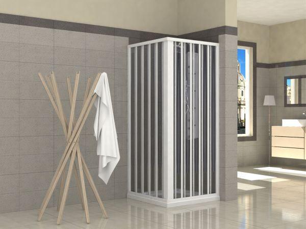 Box doccia i pvc lati apertura centrale a soffietto doppia anta
