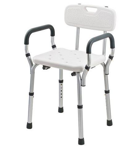 Sedia per doccia con schienale e braccioli imbottiti