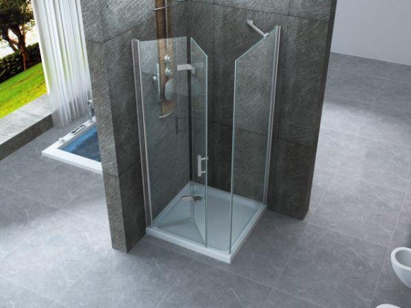 Box doccia in cristallo 8 mm frameless due lati fisso piu 39 porta pieghevole misura 80 x 100 - Porta pieghevole ...