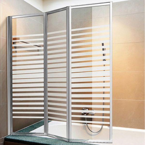 Box sopravasca 3 ante pieghevoli in cristallo serigrafato telaio cromato o bianco - Box per vasca da bagno ...