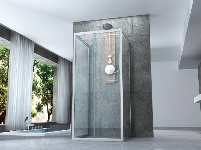 Box doccia cristallo 6 mm 3 lati due fissi piu 39 porta - Montaggio porta scorrevole ...