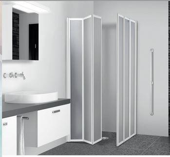 box doccia 2 lati a scomparsa in acrilico 3 mm e alluminio bianco