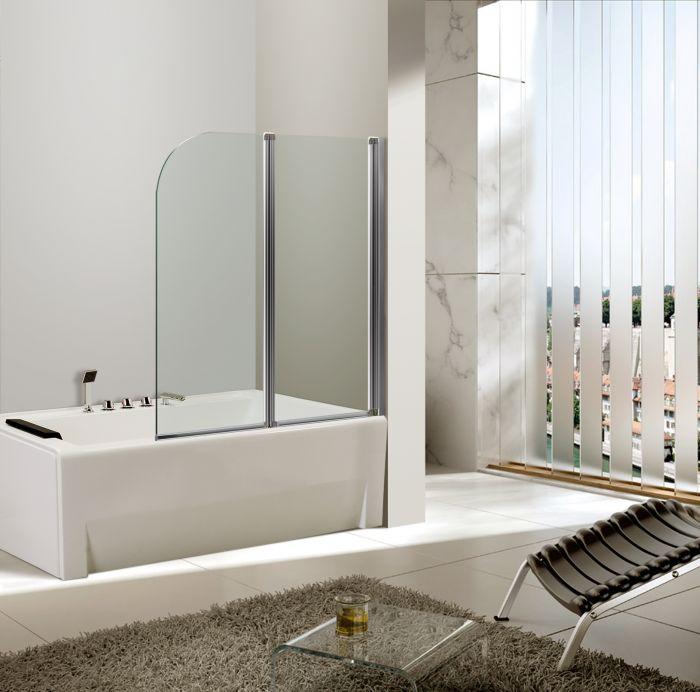 Anta sopravasca in cristallo 4 mm trasparente telaio cromato - Box per vasca da bagno a soffietto ...