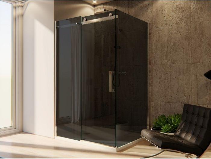 Cabine Doccia Cristallo : Box doccia cristallo 8 mm 2 lati fisso piu scorrevole vetro fume