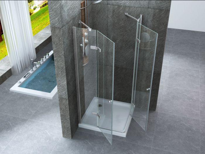 Box doccia cristallo 8 mm frameless due lati doppio battente esterno - Porta a doppio battente ...