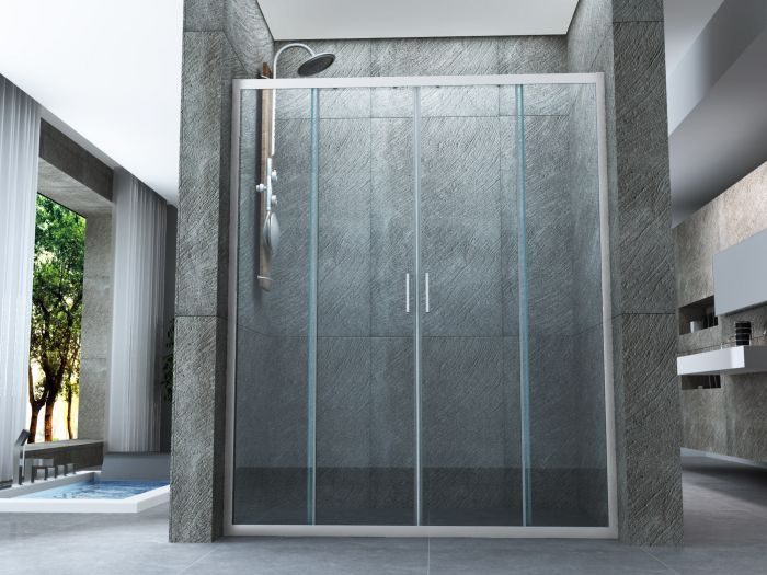 Porta doccia in cristallo mm un lato con doppia porta scorrevole